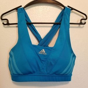 Adidas High Impact Blue Sports Bra Medium